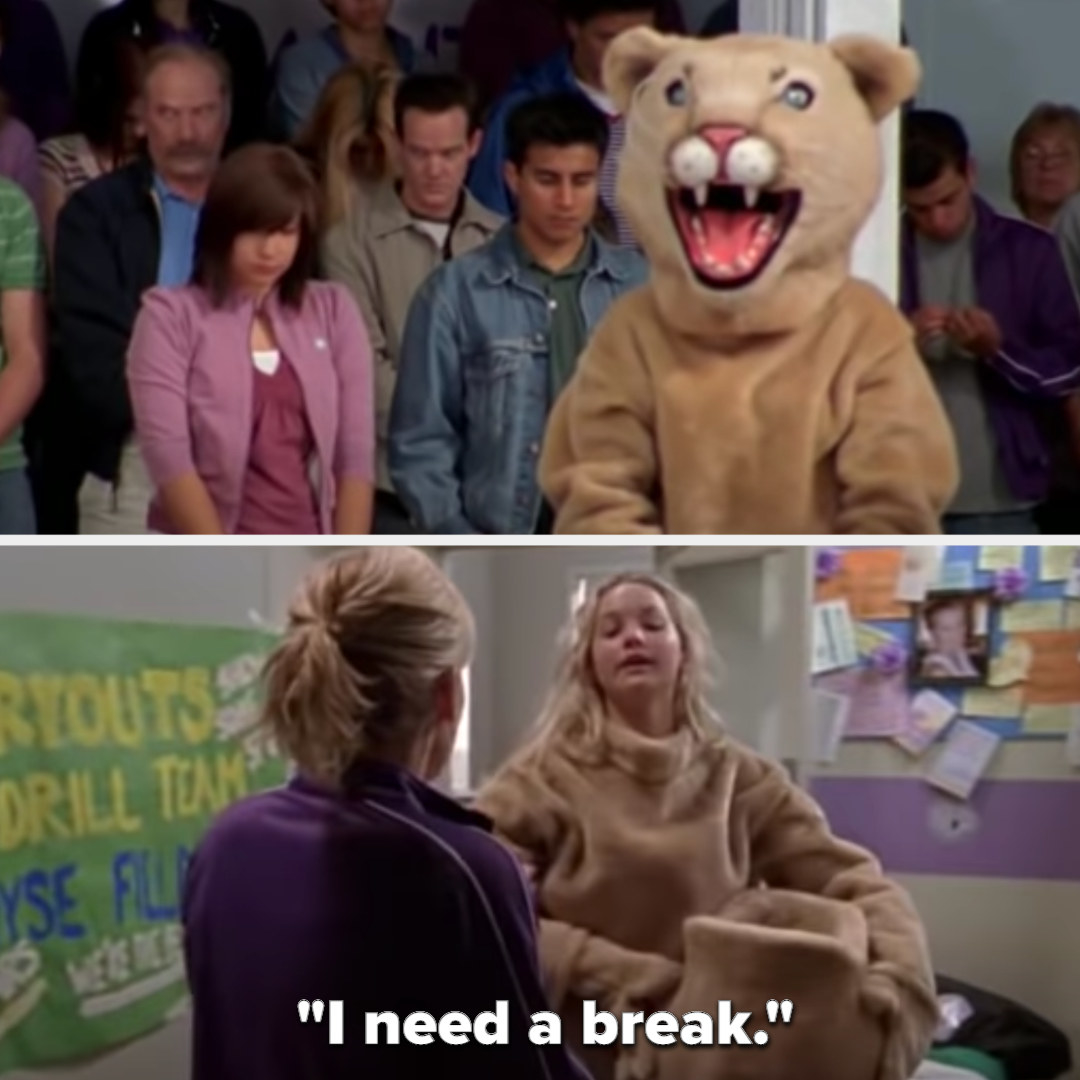 """Jennifer dances as the mascot, then later takes the head off, saying, """"I need a break"""""""