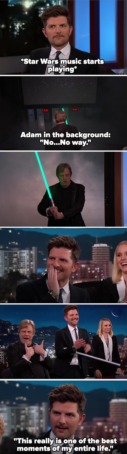 Mark comes in with a light saber and smoke and Adam looks super excited then calls it one of the best moments of his life