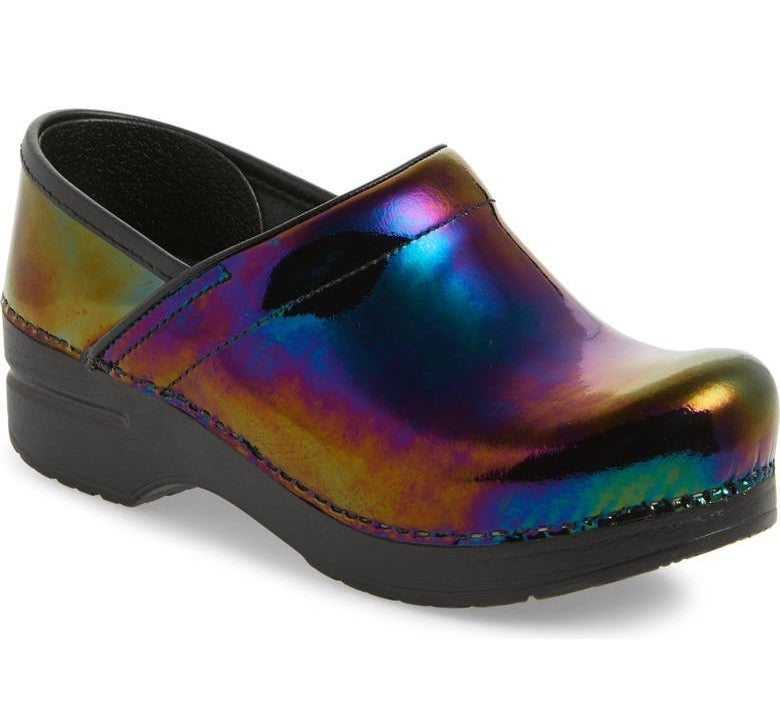 The clog in a rainbow iridescent patent leather finish
