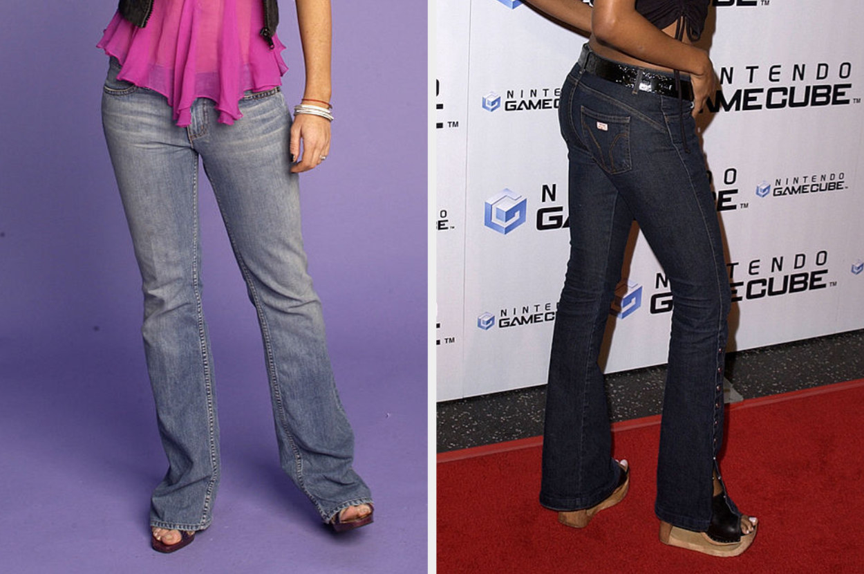 Lindsay Lohan in a 2004 photoshoot wearing long wide-leg jeans and Traci Bingham in 2001 wearing similar jeans