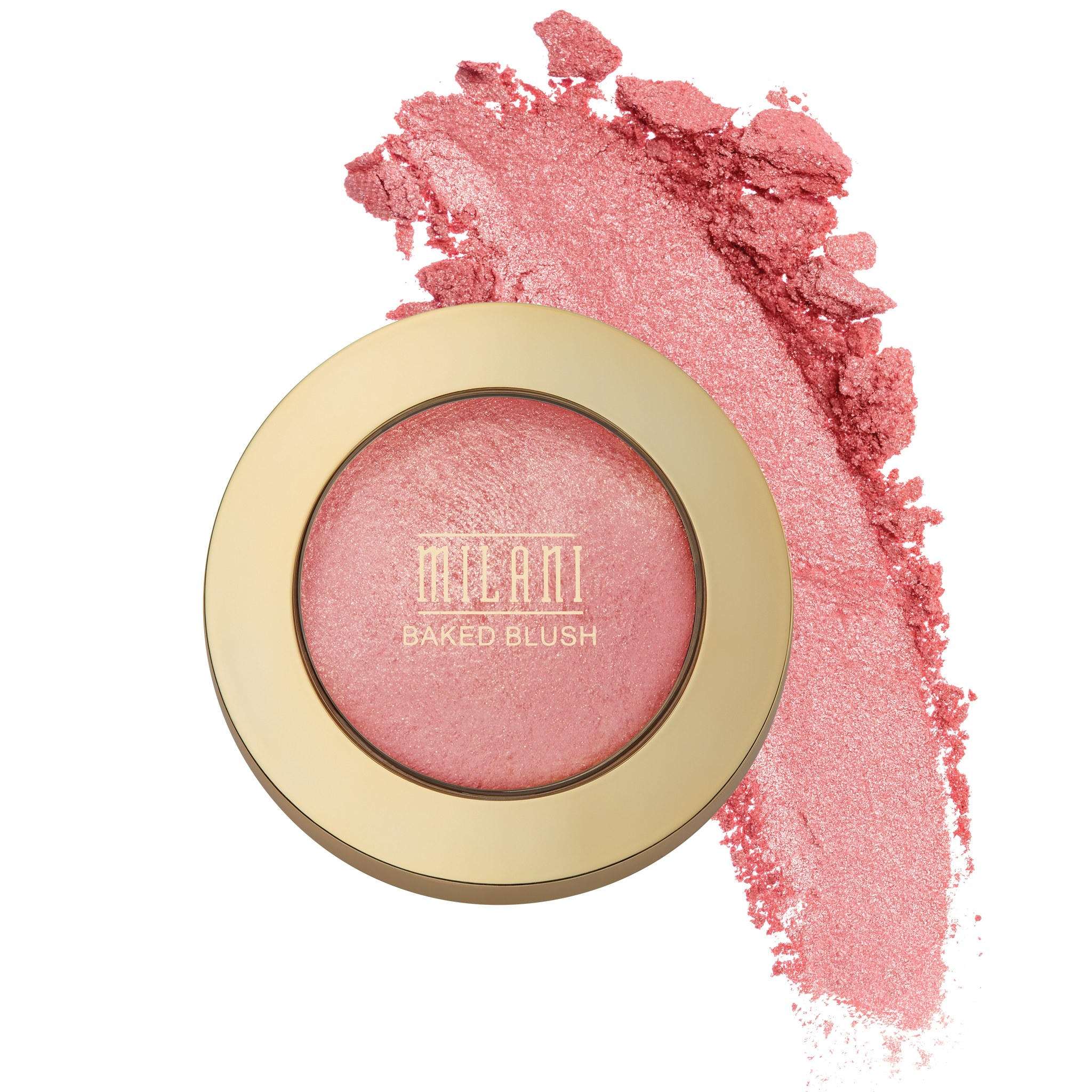 A pink blush compact with a color swatch