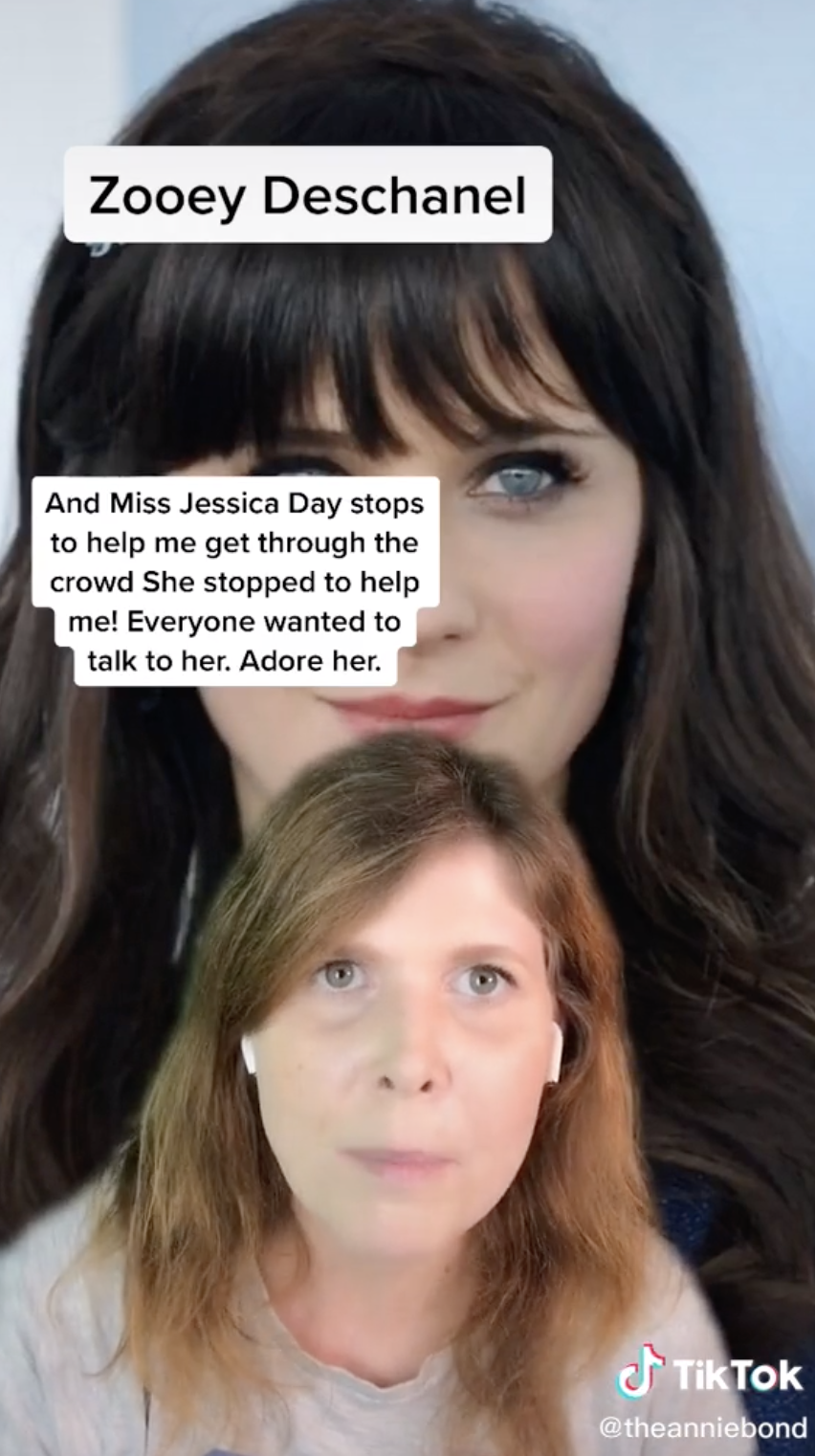 """""""Miss Jessica Day stops to help me get through the crowd. Everyone wanted to talk to her. Adore her"""""""