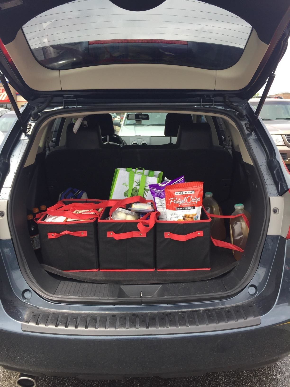 reviewer image of three black fabric bags with red handles and straps in the back of a car