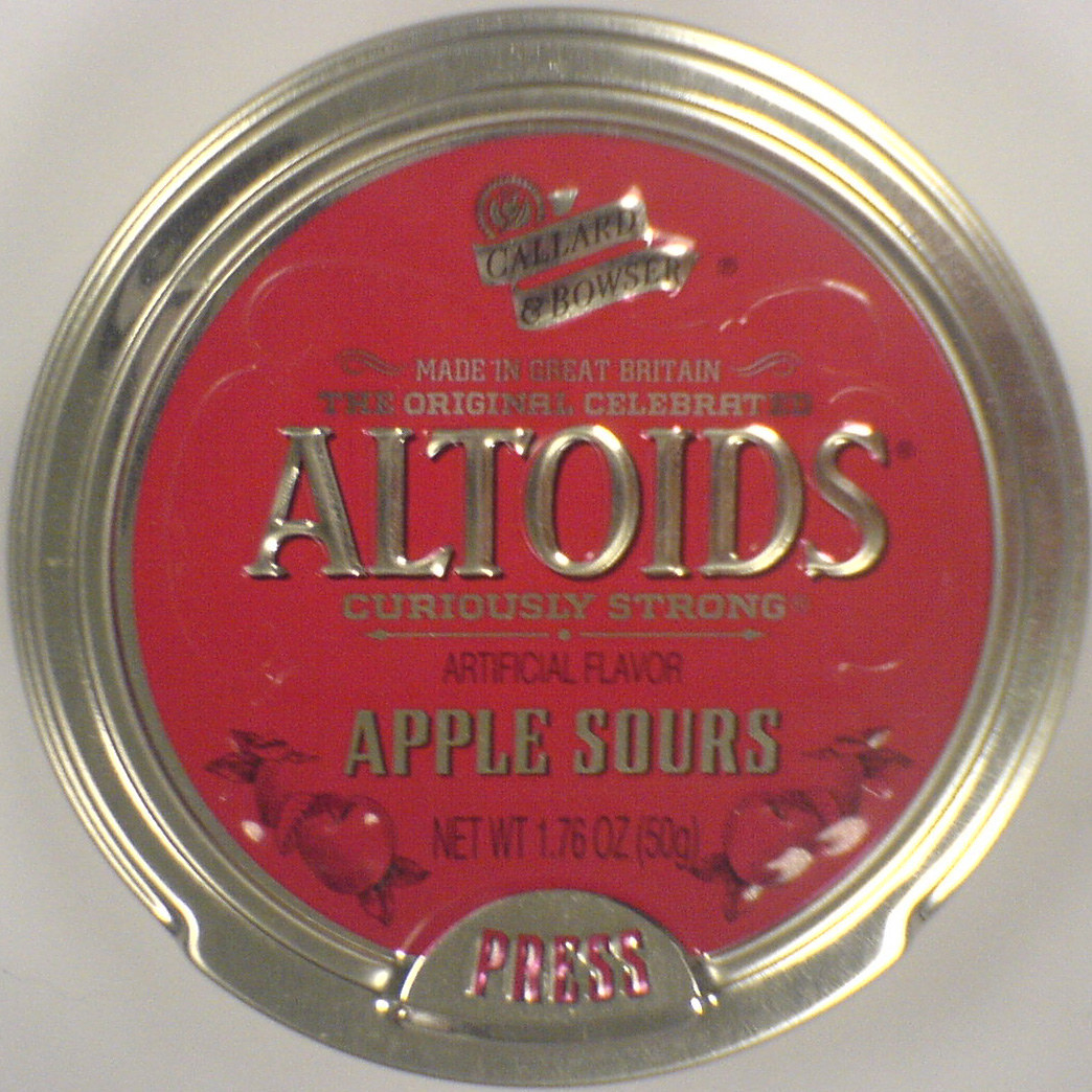 Apple Sours flavored Altoids in its signature round tin