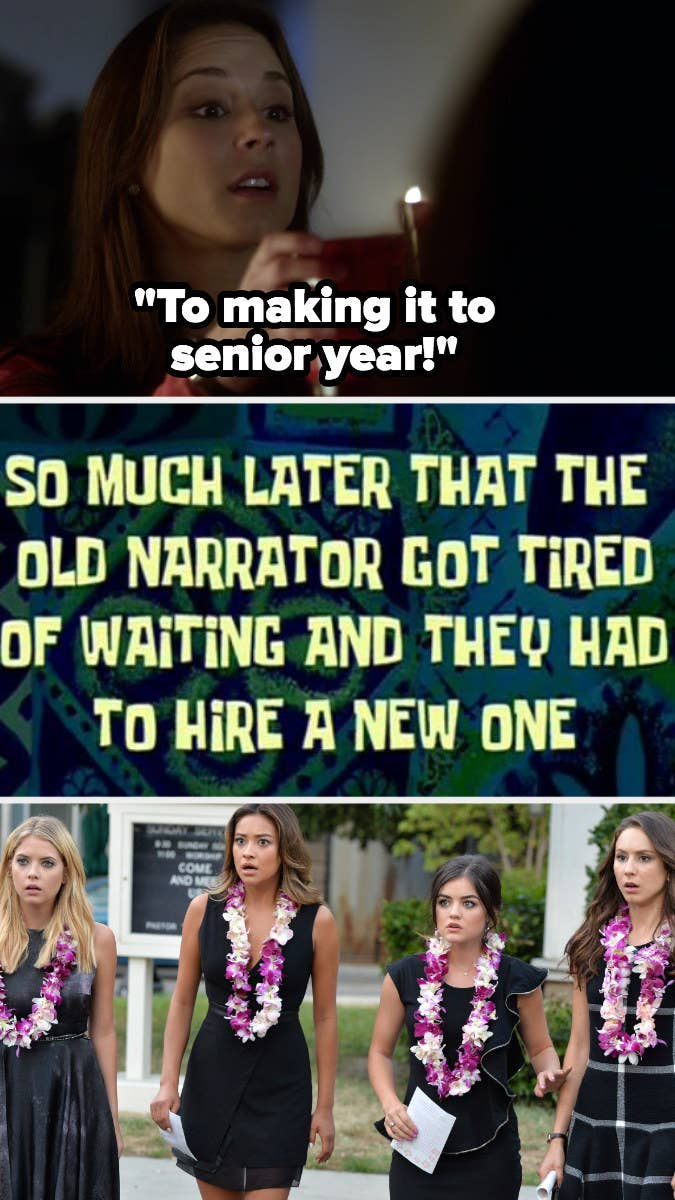 """Pretty Little Liars"" graduation alongside SpongeBob ""so much later that the old narrator got tired of waiting and they had to hire a new one"" title card"