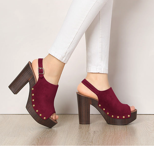 model wearing shoes in a burgundy with pants