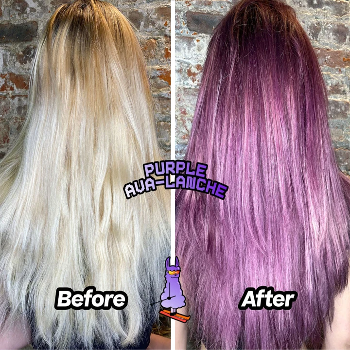 before: white blonde hair after: purple hair