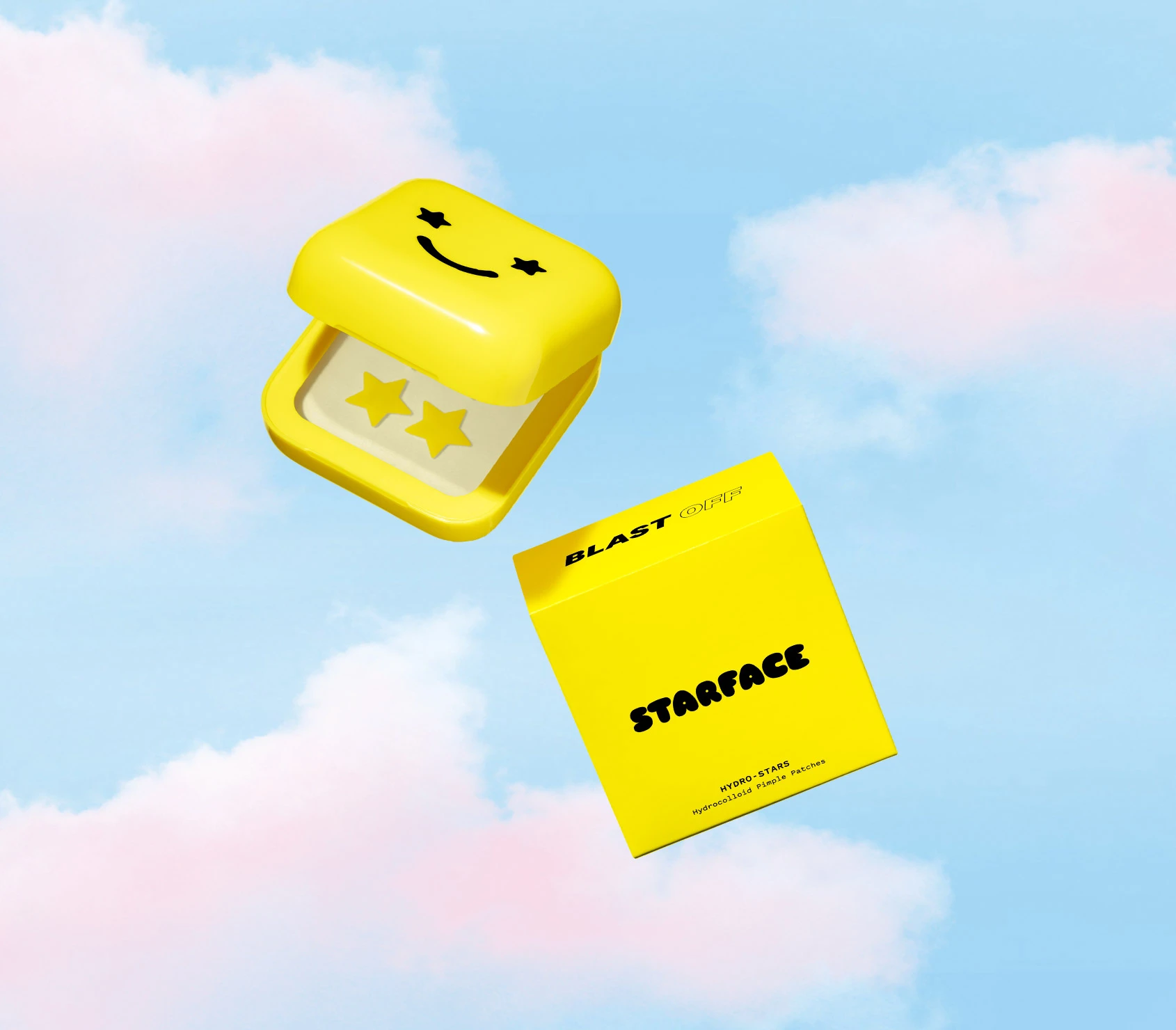 yellow box with smiley face on front with small sheets with four stars on each