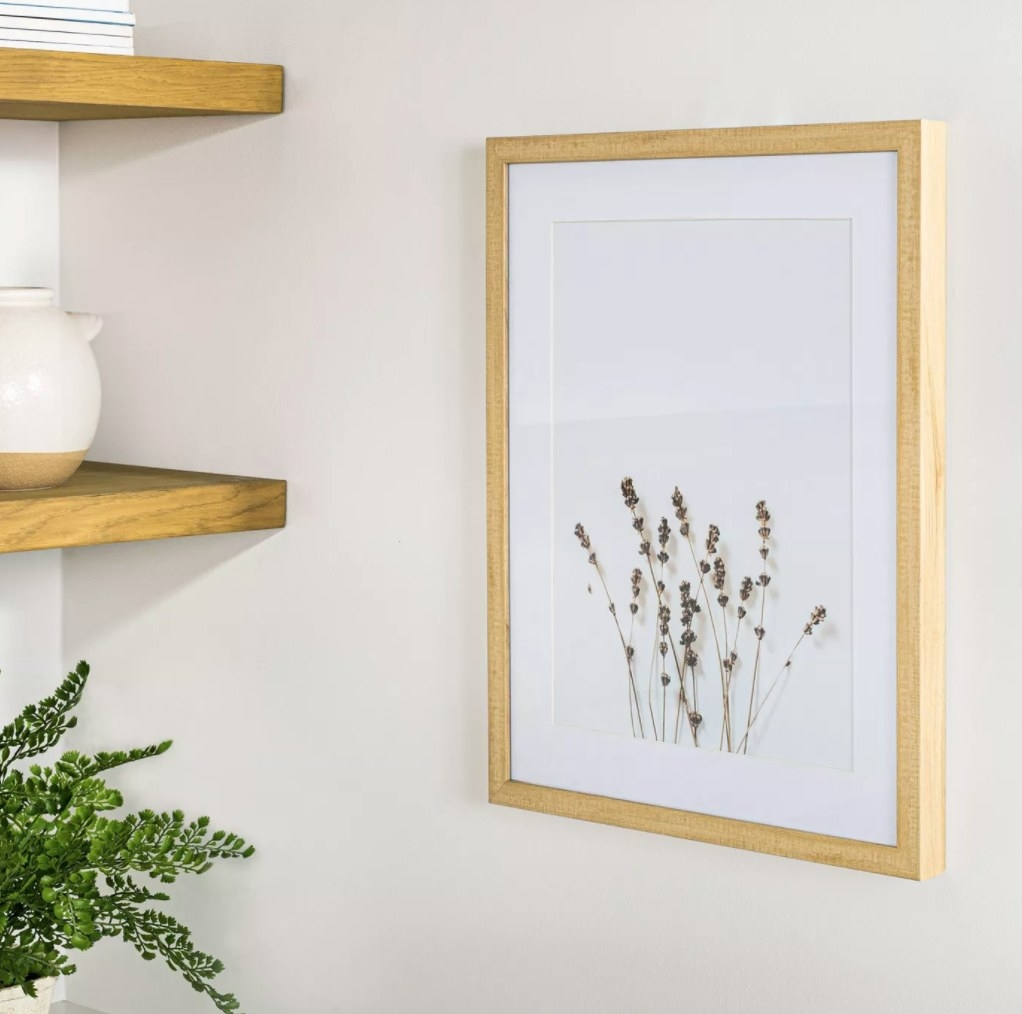The wildflower print on a wall
