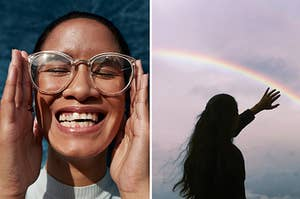 (left) A woman in clear-framed glasses closes her eyes and smiles in joy showing slightly crooked teeth; (right) a dark female silhouette against a twilight sky reached out towards a rainbow