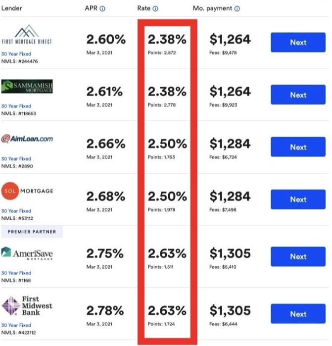 Screenshot of various mortgages