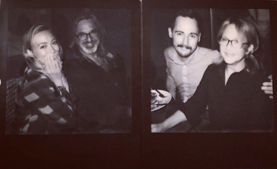 Black-and-white polaroid photos of Hilary and the cast
