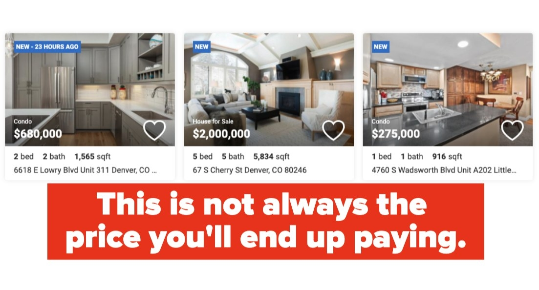 Screenshot of various homes for sale