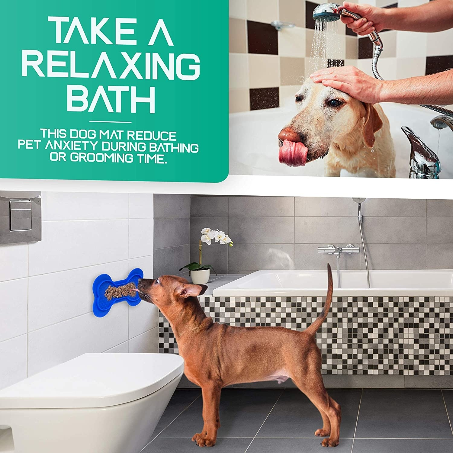 the lick pad being used for a dogs in the bath