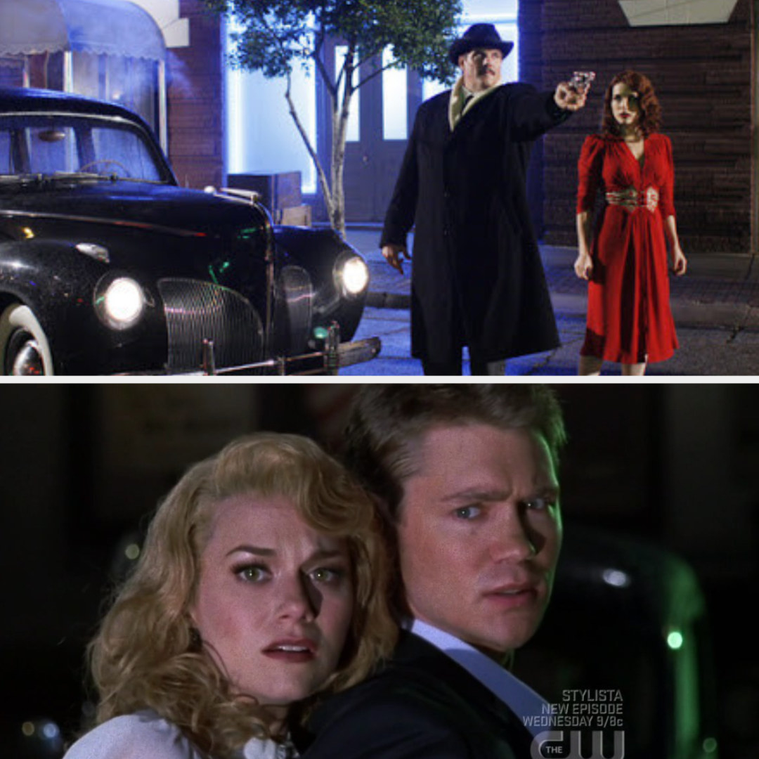 Dan pointing a gun next to Brooke and an old car and Lucas protecting Peyton