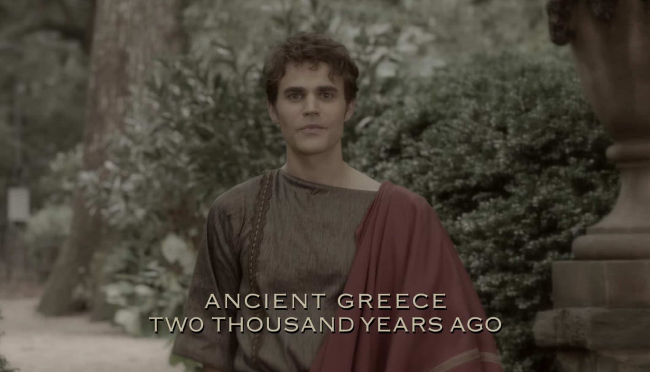 """Silas walking with the caption """"Ancient Greece, 2000 years ago"""""""