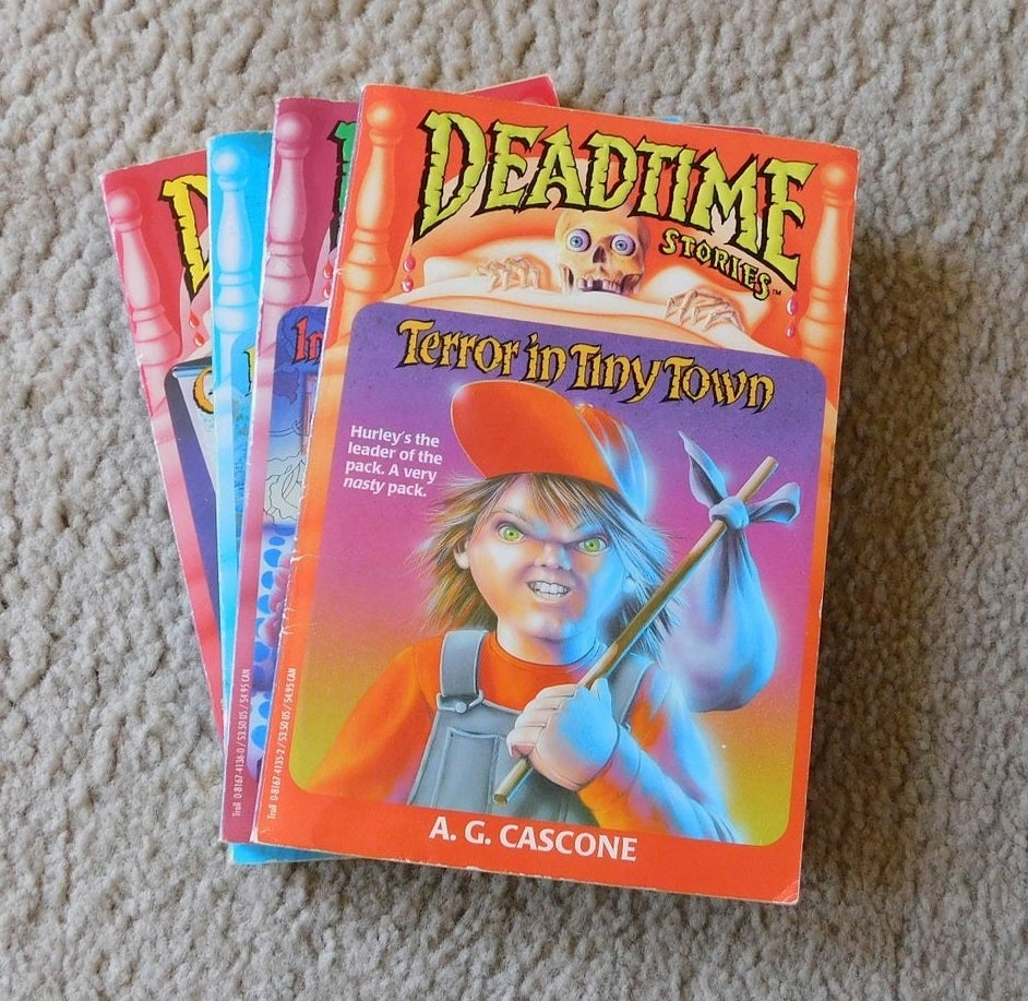 A collection of four Deadtime Stories with Terror in Tiny Town on the top of the pile