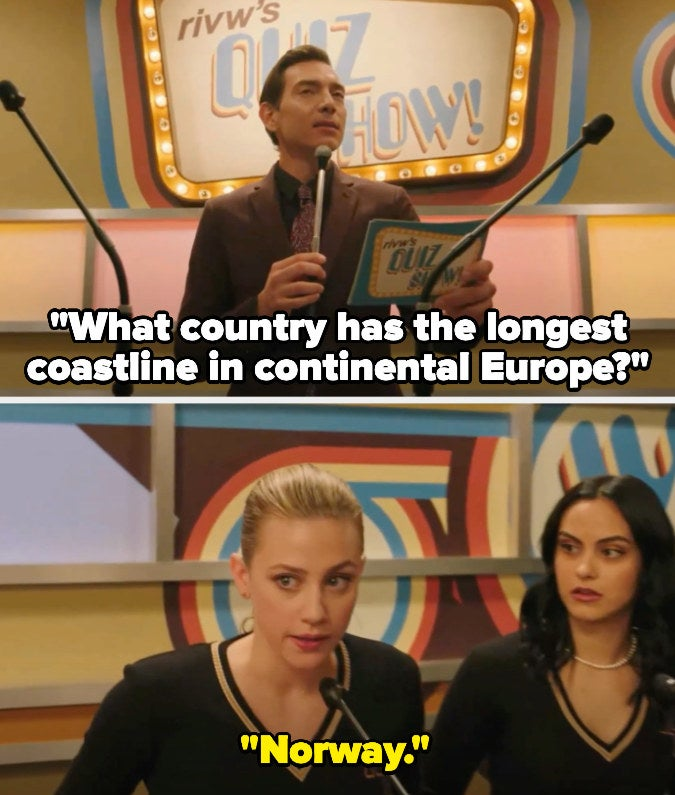 """Quiz show host asks """"What country has the longest coastline in continental Europe?"""" on Riverdale and Betty says """"Norway"""""""