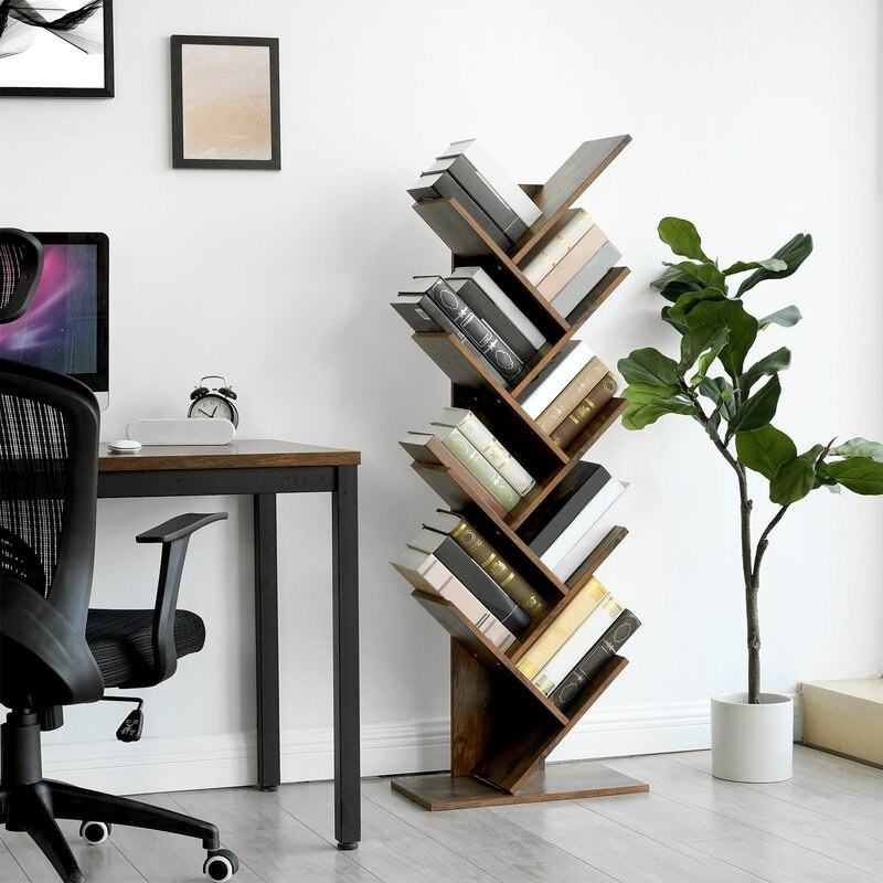 Rustic brown upright geometric bookcase