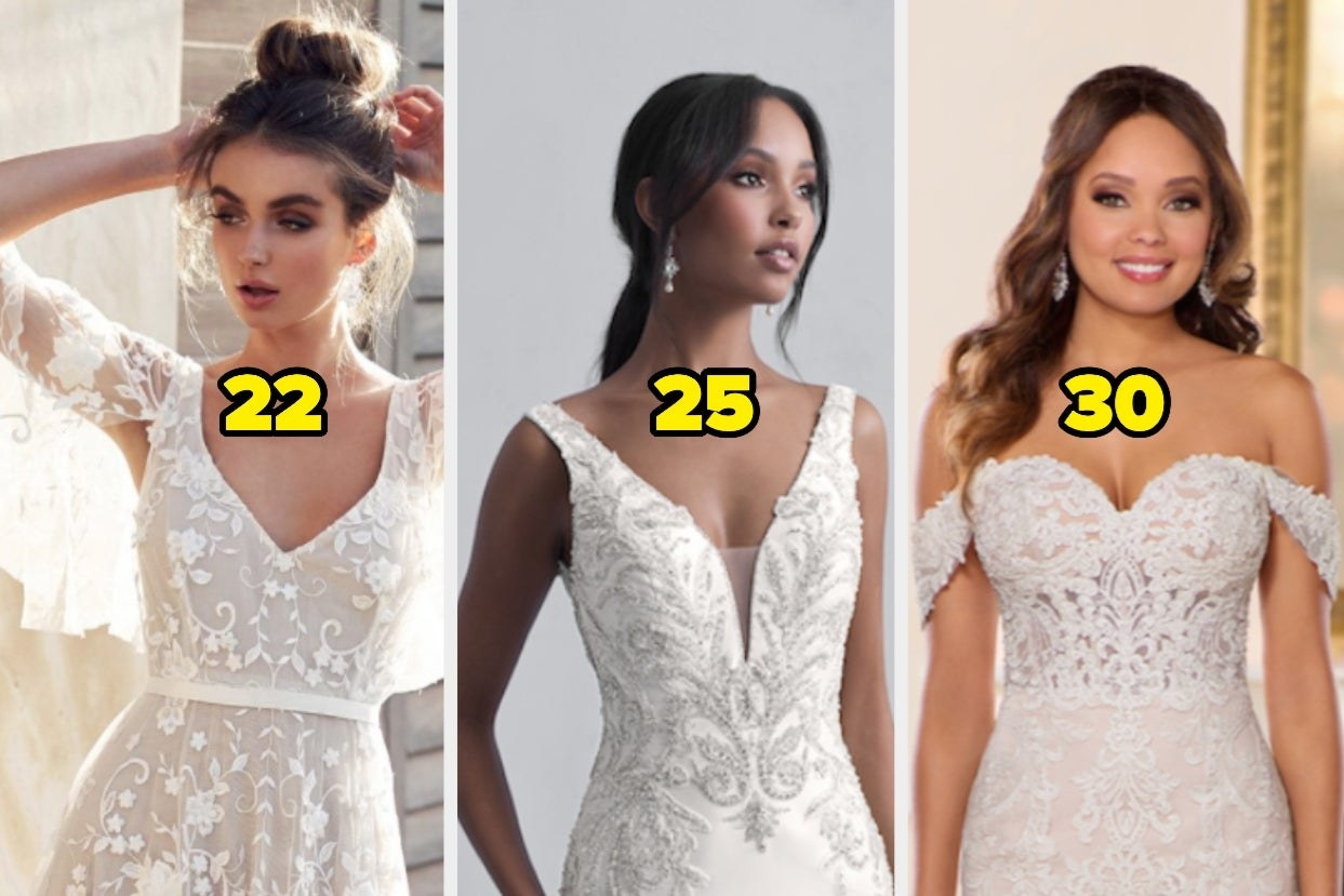 Lacey wedding with the number 22, low-cut embellished wedding dress with the number 25, and a lacey wedding dress with small straps and the number 30