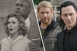 """Elizabeth Olsen as Wanda Maximoff and Paul Bettany as Vision in the show """"WandaVision"""" and Chris Hemsworth as Thor and Tom Hiddleston as Loki in the movie """"Thor: Ragnarok."""""""