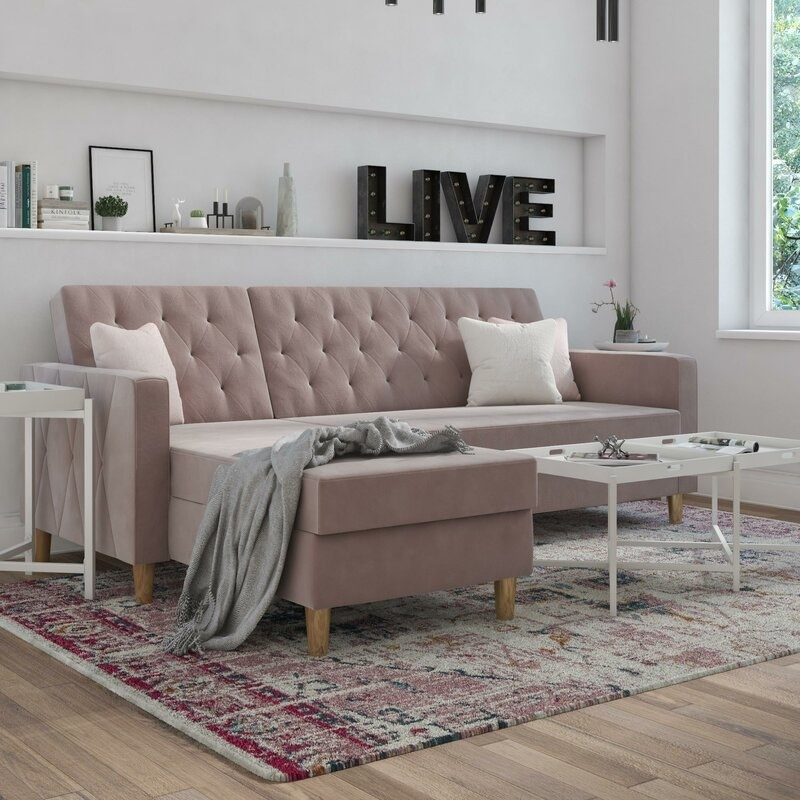 The sectional in the color Blush Velvet