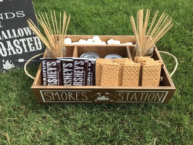 tray with compartments for different s'mores ingredients