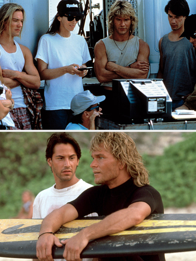 "Kathryn Bigelow watching playbacks on set of ""Point Break"" with Keanu Reeves and Patrick Swayze; Keanu Reeves and Patrick Swayze as Johnny Utah and Bodhi in ""Point Break"""