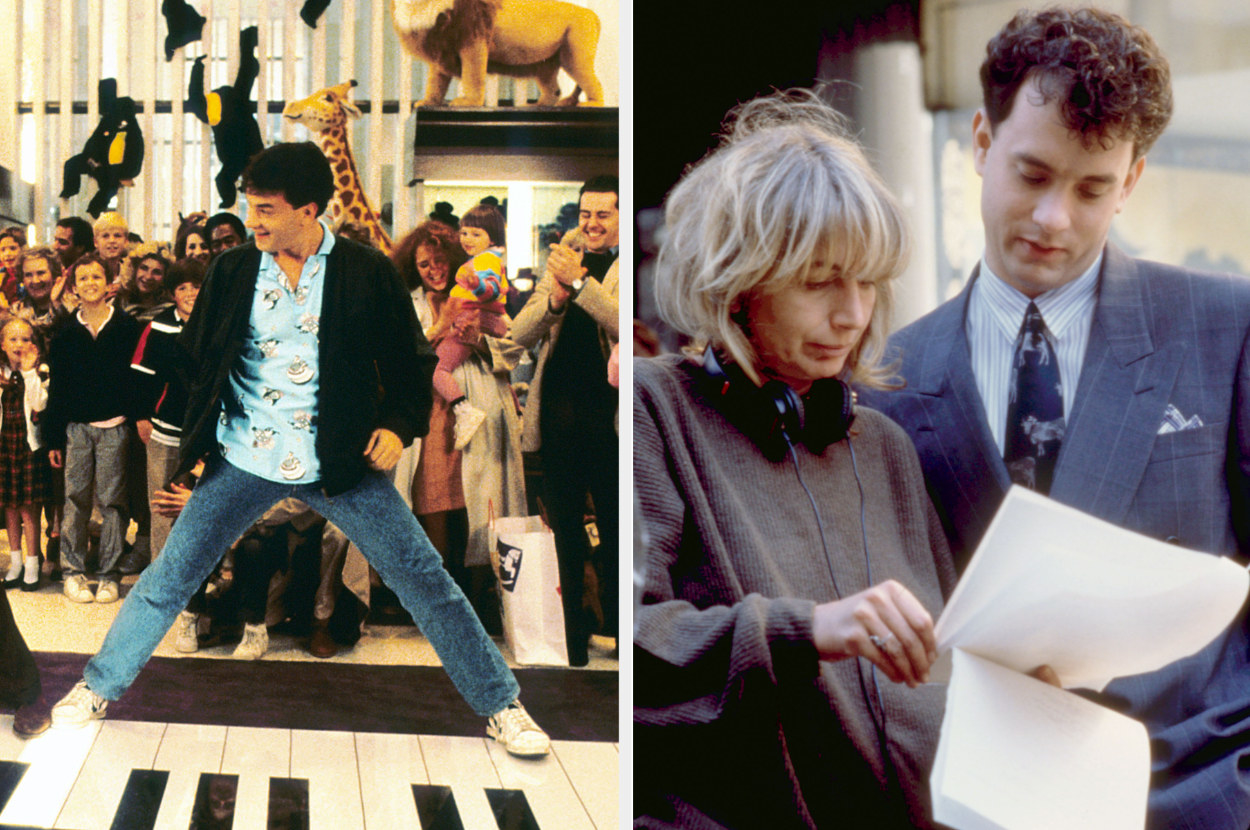 "Older Josh playing the piano at FAO Schwartz; Penny Marshall directing Tom Hanks on the set of ""Big"""