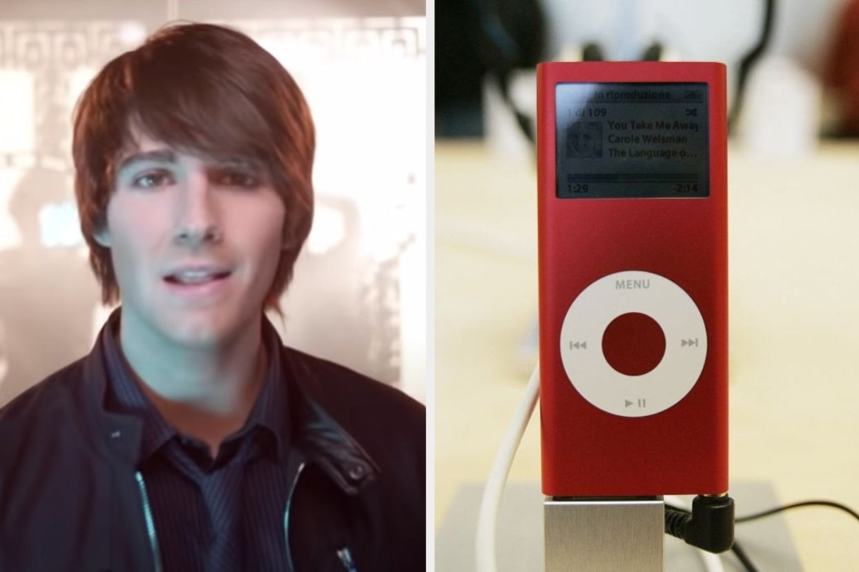 "On the left, James from Big Time Rush in the ""Boyfriend"" music video, and on the right, someone holding up an iPod"