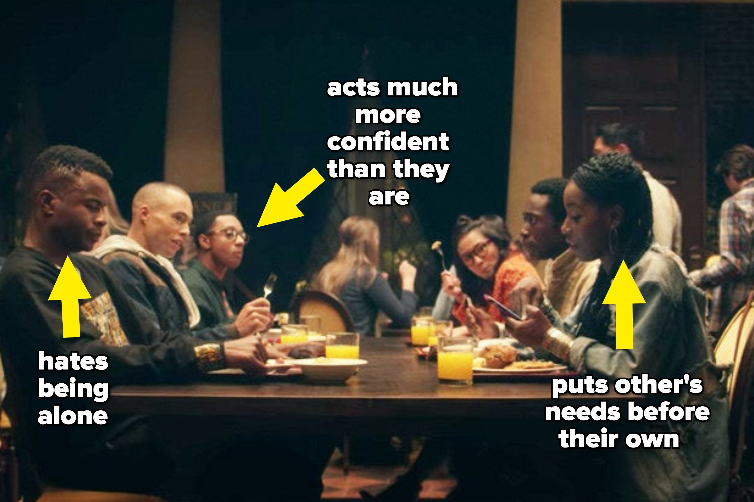 "The characters of ""Dear White People"" sitting at table and eating with arrows pointing at them next to deep truths"