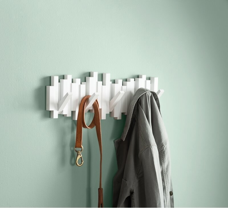 The coat rack in the color White