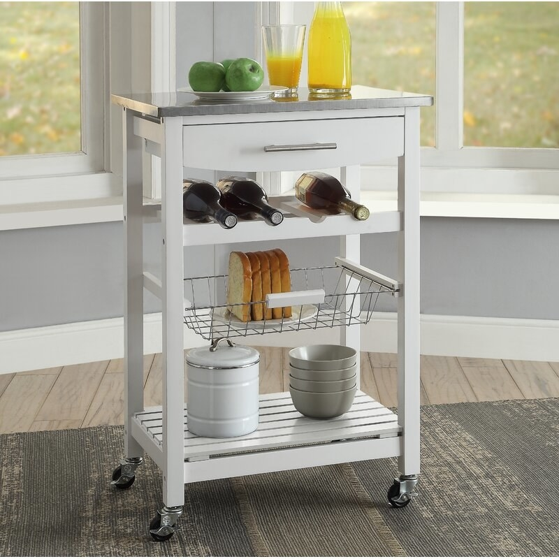 The kitchen cart in the color White