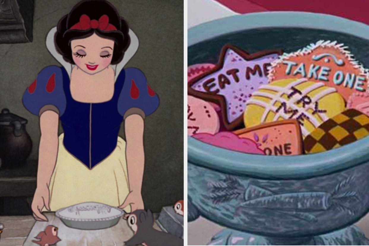 Snow White is on the left holding a pie with a bowl of cookies on the right