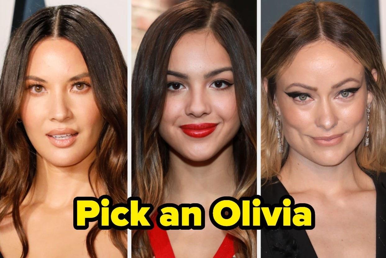 """Olivia Munn, Olivia Rodrigo, and Olivia Wilde with caption """"Pick an Olivia"""""""