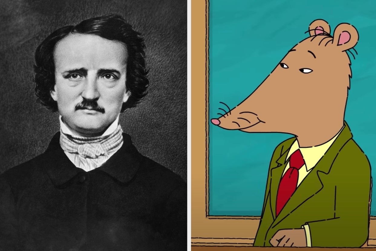 "Side-by-side images of Mr. Ratburn from ""Arthur"" and Edgar Allan Poe"