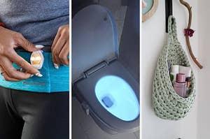 left image: running flashing light, middle image: toilet light, right image: hanging basket