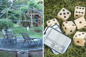 dome trellis over seating area, giant die and game boards
