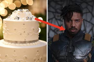"""A two tier wedding cake and Michael B. Jordan as Killmonger in the movie """"Black Panther."""""""