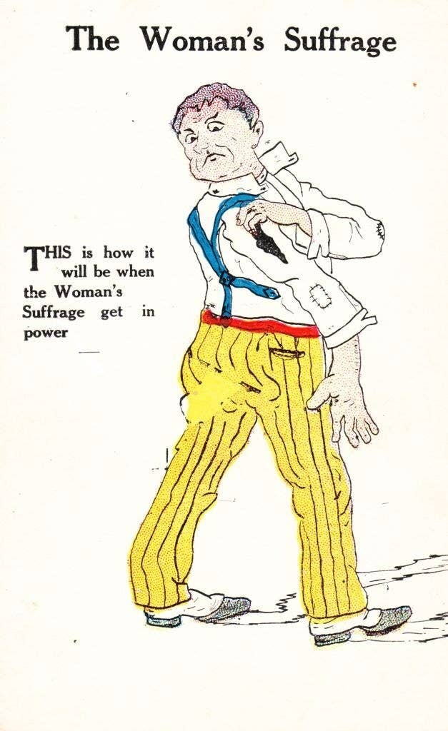 """A man wearing wrinkled clothes, with, """"This is how it will be when the Woman's Suffrage gets in power"""" written next to him"""