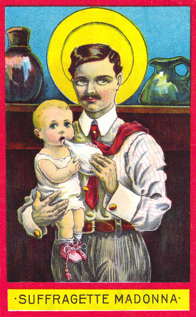 """A man holding a baby, with """"Suffragette Madonna"""" written underneath"""