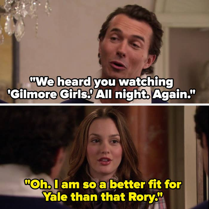 Roman says they heard her watching Gilmore Girls all night again, and Blair says she's a better fit for Yale than Rory