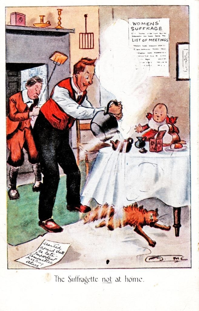 """""""The Suffragette not at home"""" written under a man struggling to make tea for his family"""
