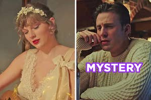 """On the left, Taylor Swift in the """"Willow"""" music video, and on the right, Chris Evans with a hand on his chin as Ransom in """"Knives Out"""" labeled """"mystery"""""""