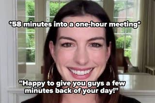 Anne Hathaway on video call smiling with