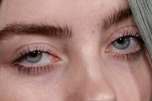 A closeup of a celebrity's eyes