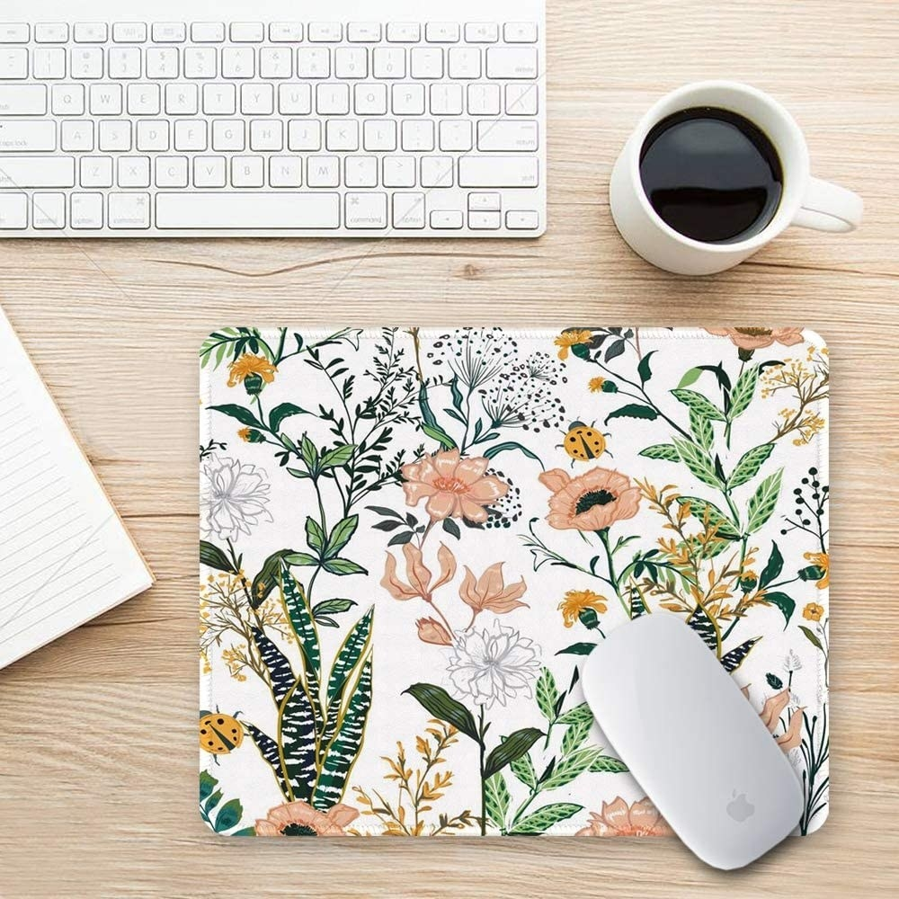 floral mouse pad on a desk