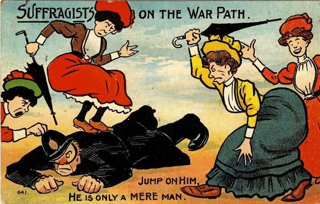 """""""Suffragists on the War Path,"""" written over women hurting police officer, with captions that read, """"Jump on him, he is only a mere man"""""""