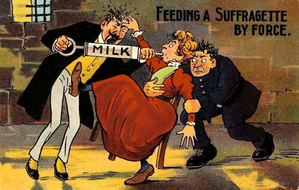 """Feeding a Suffragette by force"" written next to men force-feeding a woman milk"