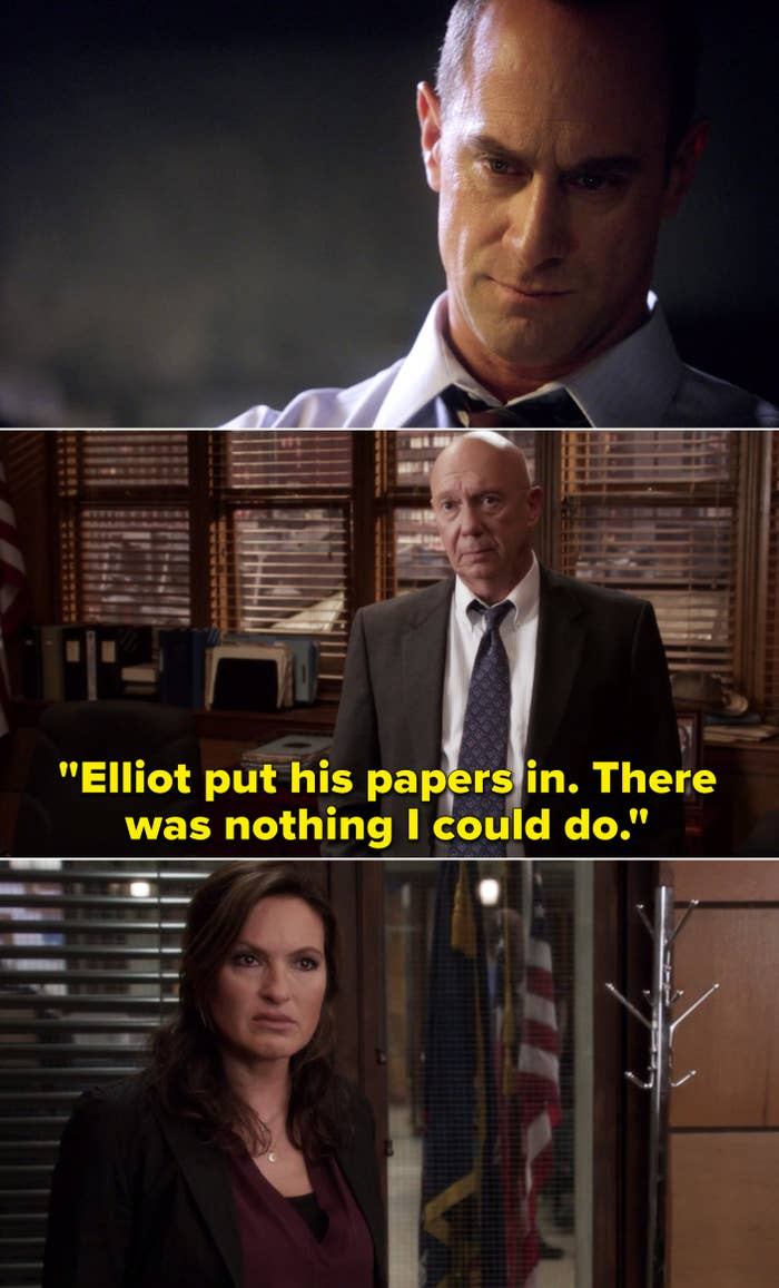 """Benson being told, """"Elliot put his papers in. There was nothing I could do"""""""